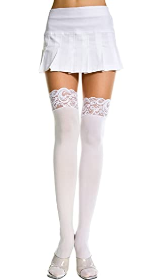 bd1a07b6d9f Amazon.com  Music Legs Plus Size Opaque Thigh Highs with Lace Top White  Queen  Adult Exotic Hosiery  Clothing