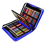 YOUSHARES 180 Slots PU Leather Colored Pencil Case - Large Capacity Carrying Case for Prismacolor Watercolor Pencils, Crayola Colored Pencils, Marco Pens, Gel Pens(Blue)
