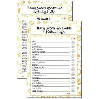 Amazon.com: 20 Gold Baby Shower Games Baby Word Scramble # ...
