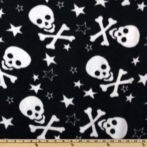 60'' Wide Fleece Skulls White/Black Fabric By The Yard