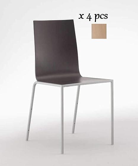 ITF Design SRL Chaise Liz L Chêne teinté wengé, lot de 4 pièces, corps en métal peint acier satiné, empilable, dimensions L. 43 P. 35 H. Assise 45,5