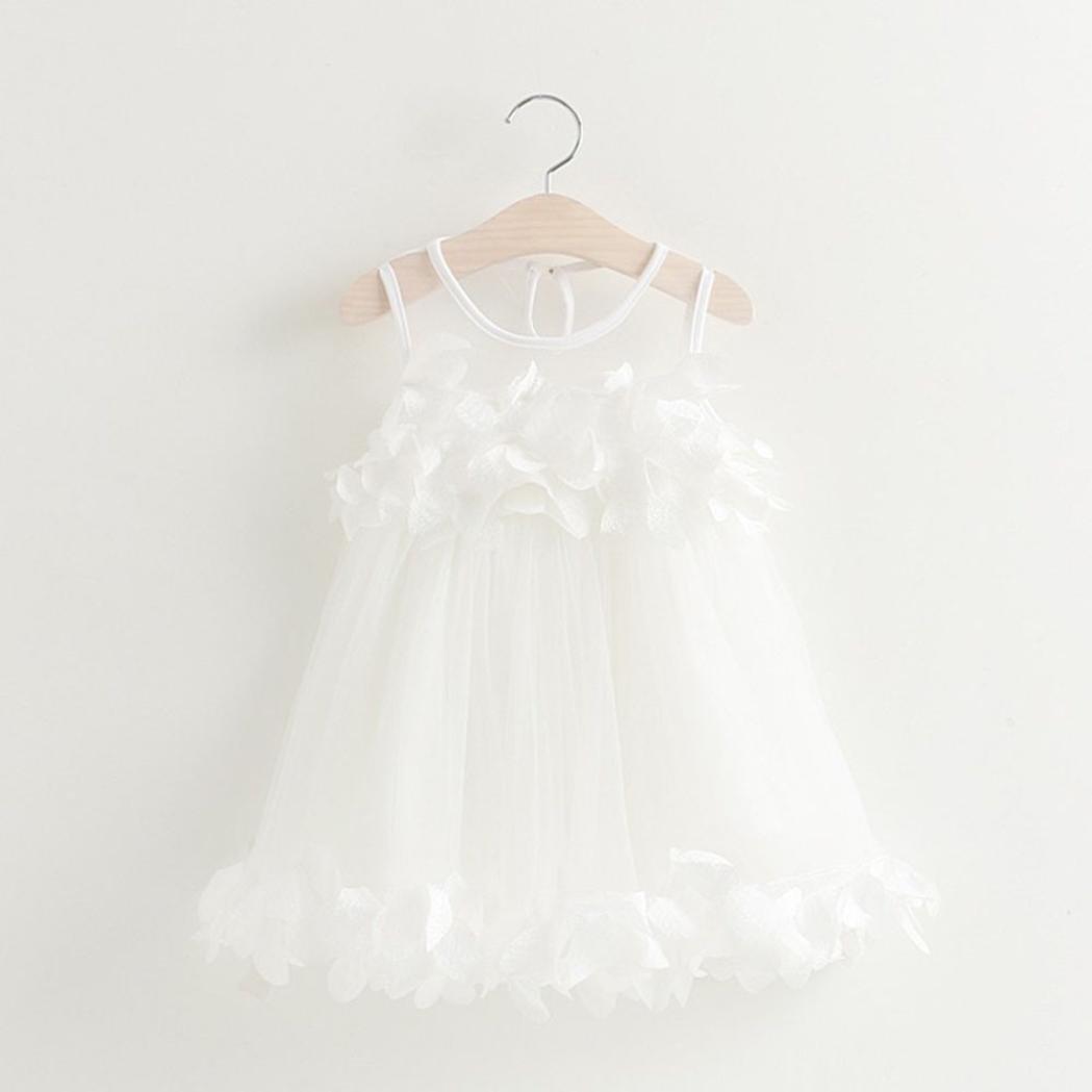 Baby Girls Princess Tutu Dress Lace Flower Pageant Sleeveless Mesh Print Vest Dresses