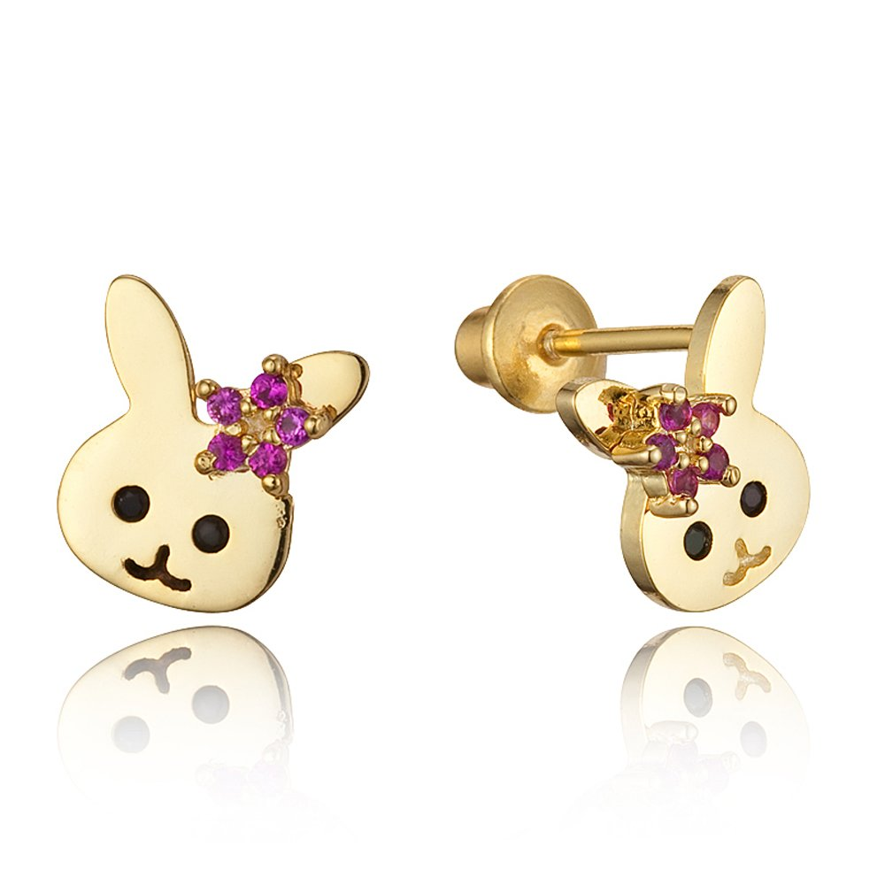 14k Gold Plated Brass Baby Rabbit Screwback Girls Earrings with Sterling Silver Post Lovearing BE3170