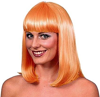 El Carnaval Peluca Melena Flequillo Naranja