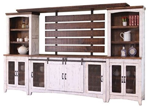 - RR White Anton Sturdy Solid Wood Farmhouse Style Sliding Barn Door Anton Entertainment Center Wall Unit - Will Fit a 70 Inch Television