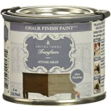 Amitha Verma Chalk Finish Paint, No Prep, One Coat, Fast Drying   DIY Makeover for Cabinets, Furniture & More, 4 Ounce, (Stone Gray)