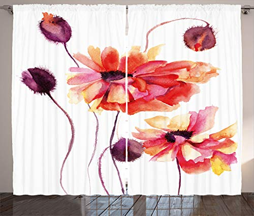 "Ambesonne Floral Curtains, Watercolor Painting Poppy Flowers and Buds Spring Nature Design, Living Room Bedroom Window Drapes 2 Panel Set, 108"" X 84"", Dark Brown"