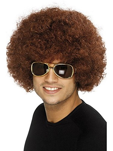 Smiffys Men's 70's Funky Brown Afro Wig, One Size, 5020570420164 -