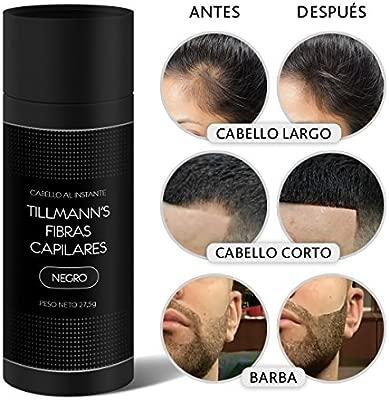 Tillmanns® Fibras Capilares Negro 27,5 gramos - Caida Cabello Hombre - Keratin Fibers - Disimular Calvicie Al Instante Con Polvo de Queratina 100% ...