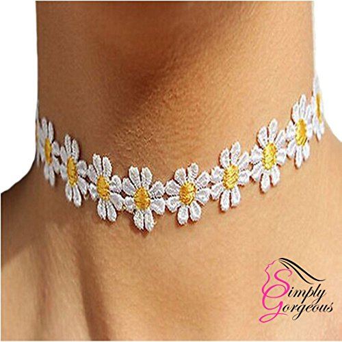 Vintage Retro Yellow & White Lace Daisy Flower Choker Necklace
