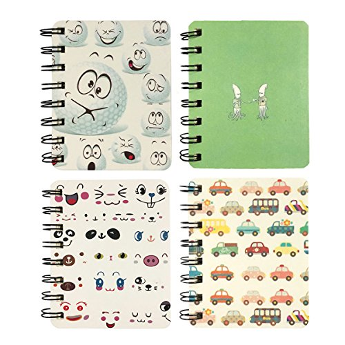 (Wrapables Novelty Spiral Journals Stationery (Set of 4) Notebooks, Cars and Emoji)