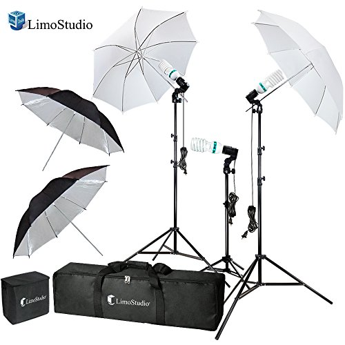 LimoStudio Photography Video Portrait Studio Daylight Umbrella Continuous Lighting Kit with Energy Saving Bulb, Photo Studio, AGG2332 (Studio Lighting For Portrait Photography)