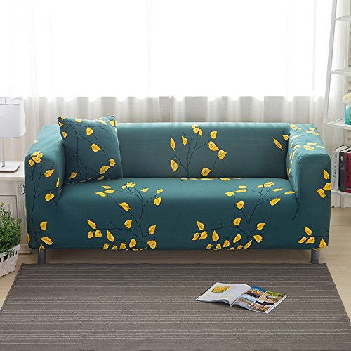 Yunhigh 2 Seater Sofa Cover Elastic Settee Loveseat Slipcover Stretch Double Sofa Protector Patterned