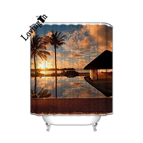Lovingin Sea Beach Sunrise Palm Trees House Wallpaper Fabric Polyester Bathroom Shower Curtain,54x78inch