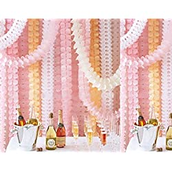 Life Glow Hanging Garland Four-Leaf Tissue Paper Flower Garland Reusable Party Streamers for Party Wedding Decorations, 11.81 Feet/3.6M Each, Pack of 6