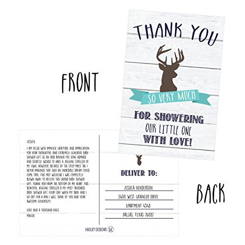 50 4x6 Rustic Deer Baby Shower Thank You Postcards Woodland Animals Bulk, Modern Cute Boho Blank Thanks Note Card For Girl or Boy Stationery Appreciation Set Photo #5