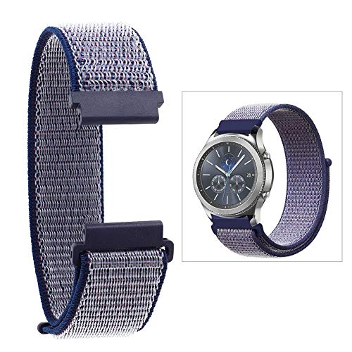Nylon Watch Strap Replacement Watch Strap Adjustment for Samsung Gear S2 Classic(Blue)