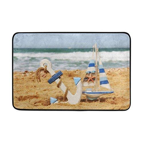 Videly Entrance Doormat Anchor Sailboat On Sea Sand Beach Summer Blue Ocean Horizon Indoor Door Mat Non-slip Doormat 23.6 by 15.7 Inch Interlayer Polyester Machine Washable Polyester Fabric