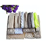 RayLineDo® 16 Meters Assorted Vintage Style Cotton Lace Ribbon Trim Bridal Wedding Scalloped Edge Crochet Lace DIY Sewing Accessory Collection B