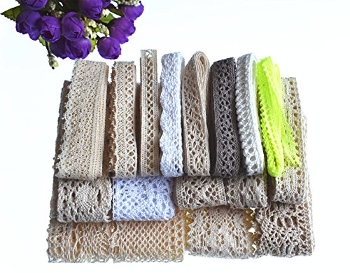RayLineDo 16 Meters Assorted Vintage Style Cotton Lace Ribbon Trim Bridal Wedding Scalloped Edge Crochet Lace DIY Sewing Accessory Collection B
