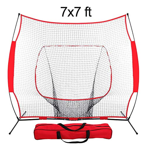 Super Deal 7'×7' Portable Baseball Softball Net w/Carrying Bag, Metal Bow Frame& Rubber Feet, for Training Hitting Batting Catching Practice by Super Dea
