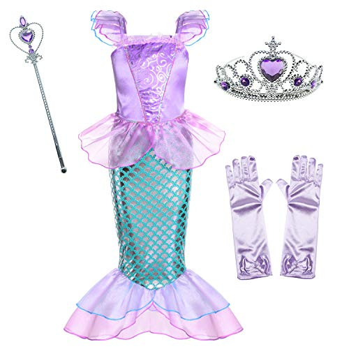 Little Mermaid Princess Ariel Costume for Girls Dress Up Party with Gloves,Crown Mace 5-6 Years