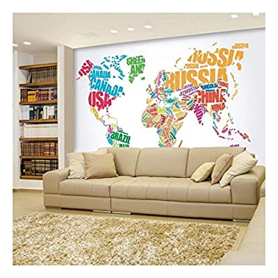 Political Typographic Map of The World in Full Color - Creative Letter Design - Wall Mural, Removable Sticker, Home Decor - 66x96 inches