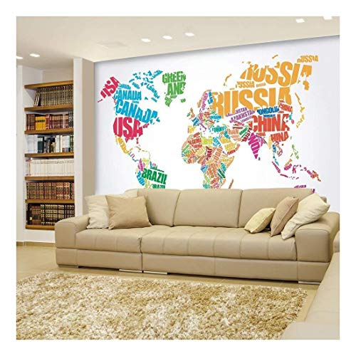Political Typographic Map of The World in Full Color Creative Letter Design Wall Mural