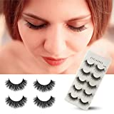 Herwiss 3D Fake Eyelashes, Handmade False Eye Lashes for Women's Make Up, No Glue Needed, Soft Long Lashes Set for Natural Charming Look, 5 Pairs