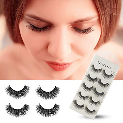 Herwiss 3D Fake Eyelashes, Handmade False Eye Lashes for Women's Make Up, No Glue Needed, Cruelty-Free, Soft Long Lashes Set for Natural Charming Look, 5 Pairs -