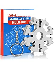 Snowflake Multi-Tool, 2021 New 20-in-1 Stainless Steel Snowflake Tool, Outdoor Portable Keychain Screwdriver - Bottle Opener with a Key Ring, 1Pack (1, Silver)