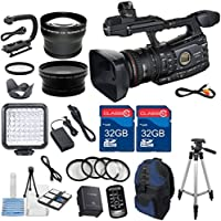 Canon XF305 HD Professional Camcorder with 2pc 32GB High Speed Memory Cards + Wideangle Lens + Telephoto Lens + LED Light + 4pc Macro Close Up Filters + Deluxe Camcorder Case + Professional Tripod