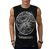 Scotland Edingurgh Big Town Map Men NEW Black S-2XL Sleeveless T-shirt   Wellcoda
