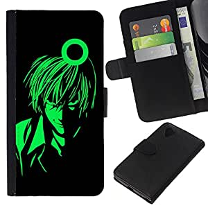KLONGSHOP // Tirón de la caja Cartera de cuero con ranuras para tarjetas - Green Man Anime Arte del carácter muchacho de la historieta - LG Nexus 5 D820 D821 //