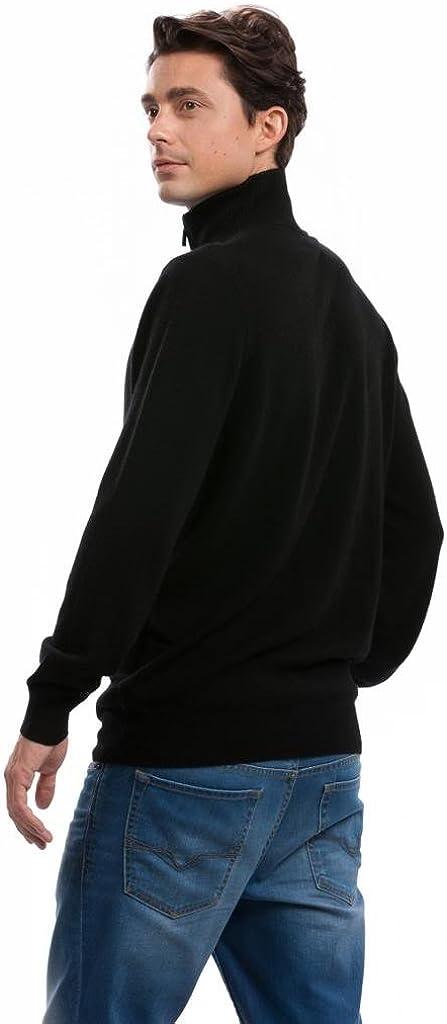 Citizen Cashmere Long Sleeve Zip-Up Cardigan for Men - 100% Pure Cashmere (Metal Zipper) Black