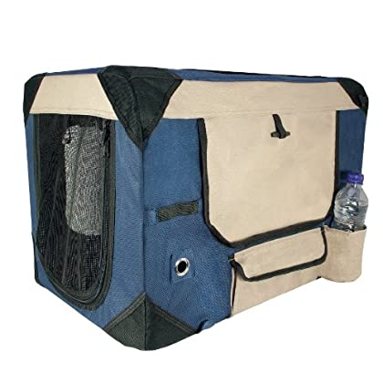 Image of Dogit 90527 Deluxe Soft Crate for Pets with Storage Case, Great for Travel & Training, Medium, Blue Pet Supplies