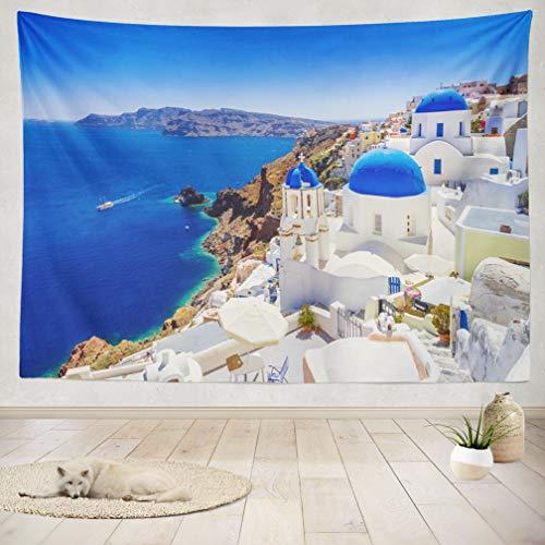 ASOCO Tapestry Wall Handing Beautiful Town Santorini Island Santorini Island Landmark Nature Europe Wall Tapestry for Bedroom Living Room Tablecloth Dorm 60X80 Inches ()