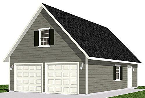 Garage Plans : 2 Car With Loft - 1224-1 - 24