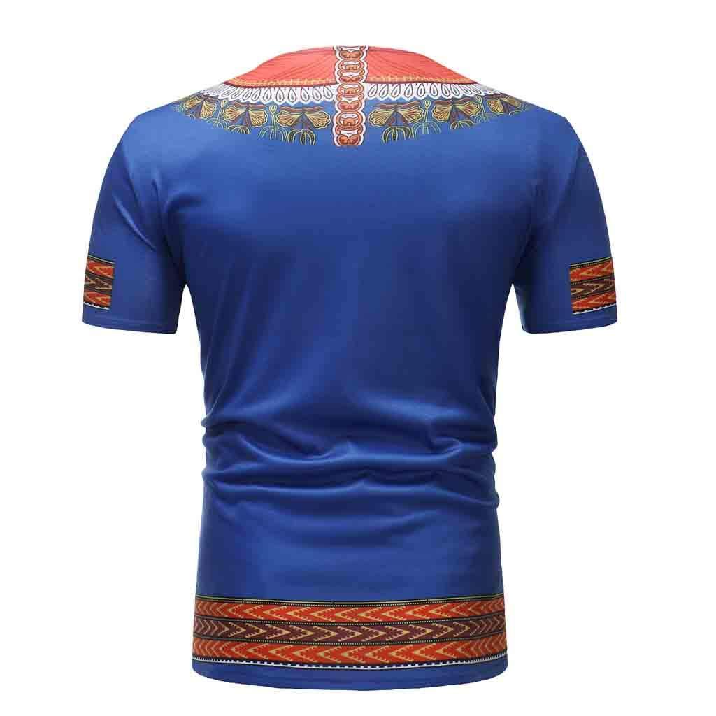 Tonsee  Chemises pour Hommes T-Shirt Moulant Mince de Style Africain de Cou de v de Style Africain de Coupe d/écontract/ée Chemisier