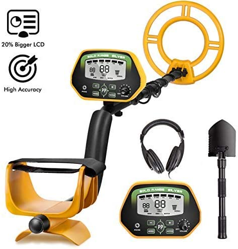 RM RICOMAX Metal Detector for Adults- IP68 Waterproof Metal Detector with Headphones, High Accuracy, [All & Disc & Notch & Pinpoint Modes], 10 Waterproof Search Coil, Adjustable Light