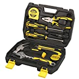 DOWELL 9 Small Homeowner Tool Set , Home Repair Hand Tool Kit with Plastic Tool box Storage Case
