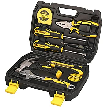 DOWELL Small Homeowner Tool Set, 9 Pieces General Household Small Hand Tool Kit with Plastic Tool box Storage Case