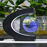 Suspended World Map Globe, CEStore® 360 Degree Magnetic Levitation Floating Rotating in Midair Anti-gravity Globe with Multicolor LED Lights for Novelty Toys Gift Home Office Desk Decoration - Blue
