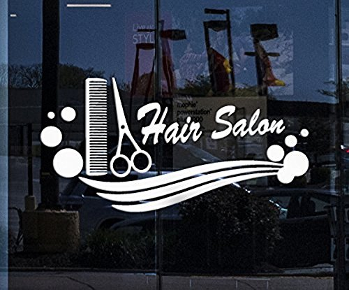 (Andre Shop Window Decor and Wall Stickers Hair Salon Vinyl Decal Comb Scissors Hairdresser Haircut Unique Giftig633w SX61. )
