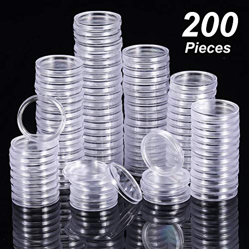 Hicarer 25 mm Coin Holder Capsules Clear Round Plastic Coin Container Case for Coin Collection Supplies (200) from Hicarer
