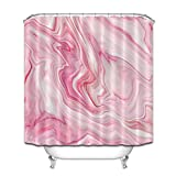 Shower Curtains with Pink in Them LB Marble Shower Curtain Collection,Pink Metal Marble with Rose Trendy Wedding Bathroom Decor Curtains,Mildew Resistant Waterproof Fabric Stall Shower Curtain 72x72 Inches with Hooks