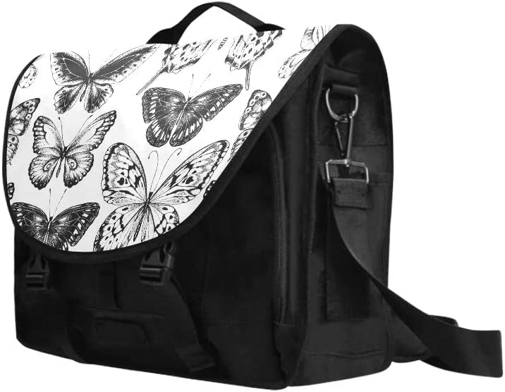 Crossbody Shoulder Bags Seamless Black Silhouettes Butterflies On Multi-Functional Laptop Briefcases for Men Fit for 15 Inch Computer Notebook MacBook