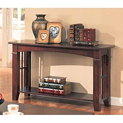 Amazon Com Brentwood Sofa Table With Wood Top In Cherry Kitchen