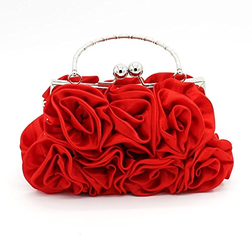 (Kingluck Silk Shell with Flower Evening Handbags/Clutches/Top Handle Bags More Colors Available (red))