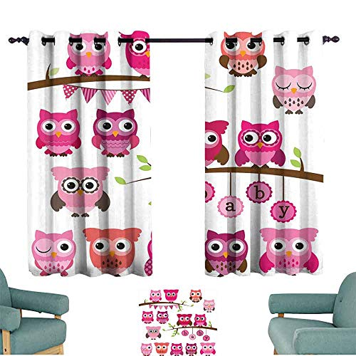 HCCJLCKS Room Darkening Wide Curtains Nursery Girl Baby Shower Themed Owls and Branches Adorable Cartoon Animal Characters Simple Style W63 xL45 Purple Pink Brown ()